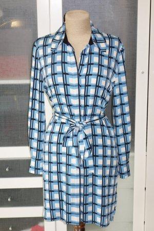 Org. DIANE von FÜRSTENBERG Hemdblusenkleid aus Seide mit Bindegürtel Karomuster blau Gr.34