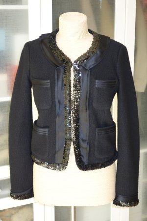 Org. DKNY Woll-Bouclé Jacke mit Pailletten in schwarz Gr.XS