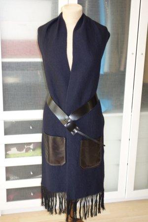 Org. DOROTHEE SCHUMACHER langer Woll-Schal/Weste mit Taillengürtel und Fransen