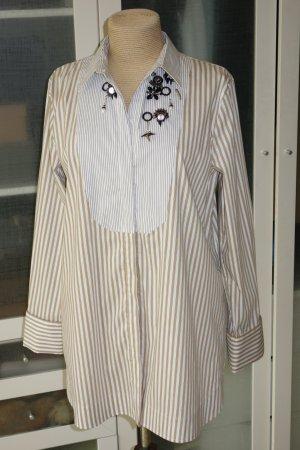 Org. DOROTHEE SCHUMACHER long Bluse in Streifenoptik und Applikationen Gr.38 NEU+Etikett