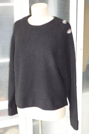 Org. DOROTHEE SCHUMACHER oversized Pullover aus gebrushter Wolle mit Schmucksteinen Gr.38