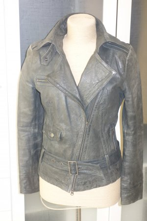 Org. DRYKORN for beautiful people Biker-Lederjacke in graublau Gr.36