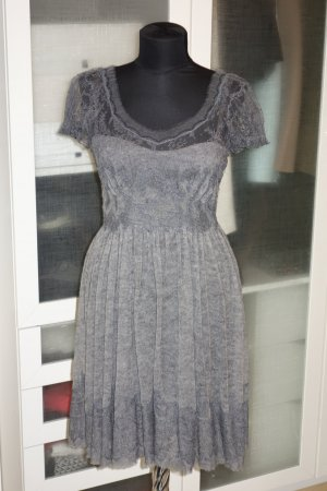 Org. ERMANNO SCERVINO Woll-Kleid mit Spitze grau Gr.34/36