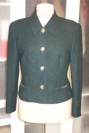 Org. ESCADA Blazer aus Wolle mit Lurex Gr.38 dunkelgrün