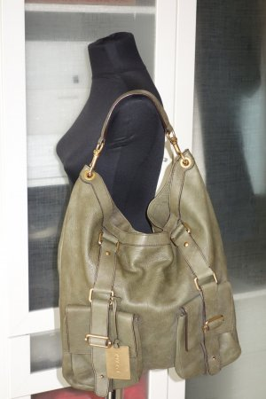 Org. ESCADA Hobo bag aus Leder in oliv top