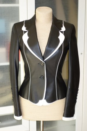 Escada Leather Blazer black-white leather