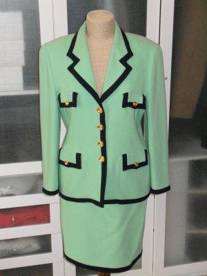 Org. ESCADA vintage Kostüm in grün mit schwarzen Rändern und goldenen Knöpfen Gr.40