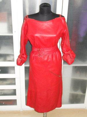 Org. ESCADA vintage Lederkleid in rot Gr.40