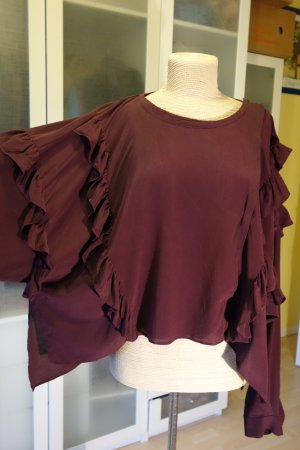 Org. FAITH CONNEXION oversized Seiden-Bluse/Shirt mit Volants in bordeaux Gr.M