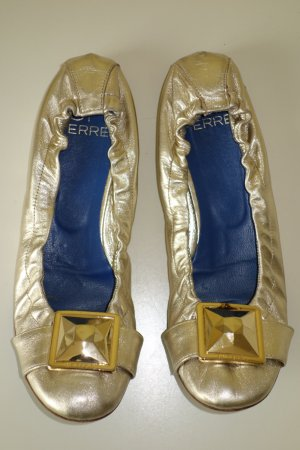 Org. GIANFRANCO FERRE Ballerinas in gold mit Applikationen Gr.40