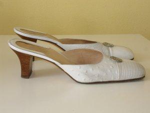 Versace Sandalo con tacco alto crema-bianco Pelle