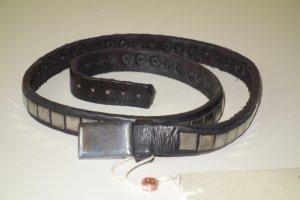 Org. GOLDEN GOOSE Leder-Gürtel mit Metallplaketten dunkelbraun NEU+Etikett