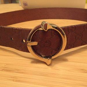 Org. Gucci Gürtel braunes Leder, goldene Schnalle