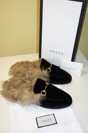 Org. GUCCI Slippers Princetown aus Samt mit Fell NEU inkl.Karton+Dustbag Gr.36