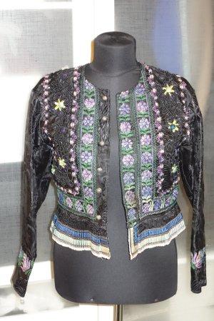 Org. HELENE STRASSER vintage Trachten Couture Jacke mit Stickereien und Applikationen Gr.36/38
