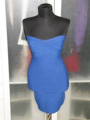 Org. HERVE LEGER bodycon Bandage-Bustier Kleid blau Gr.36