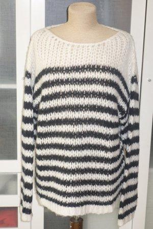Org. IHEART oversized Grobstrick-Pullover Alpaka in schwarz/weiß