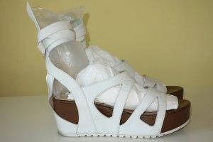 Plateauzool sandalen wit-donkerbruin