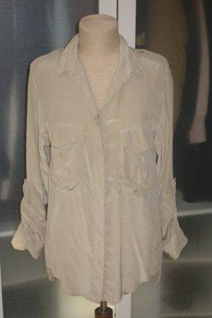 Org. ISABEL MARANT oversized Seidenbluse im military Look beige