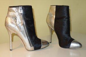 Low boot noir-argenté cuir