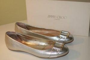 Org. JIMMY CHOO Ballerinas in gold/silber metallic mit Metallspangen Gr.40 inkl. Karton