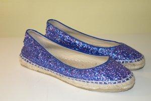 Org. JIMMY CHOO Espadrilles mit Glitter blau Gr.38,5