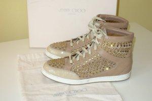 Org. JIMMY CHOO Hightop Sneaker mit Swarovskisteinen nude Gr.40 inkl.Karton+Dustbag