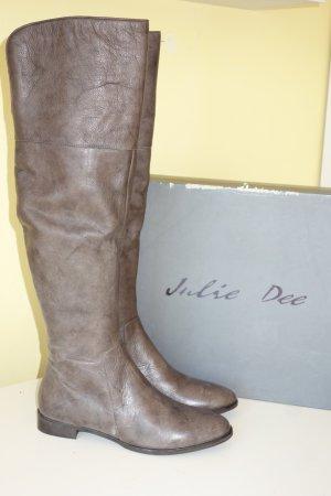 Julie dee Overknees grey brown leather