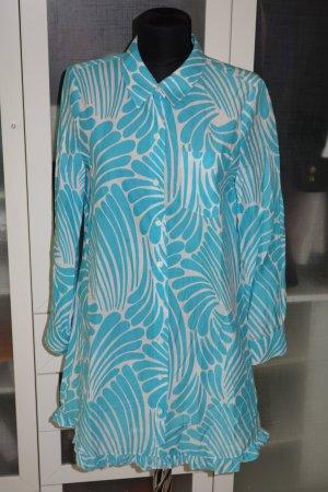 Org. KATE SPADE Hemdblusenkleid mit Muster in türkis/weiß Gr.40
