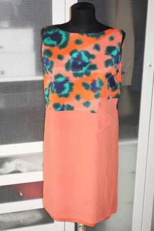 Org. KENZO Kleid mit Muster Seide orange Gr.36
