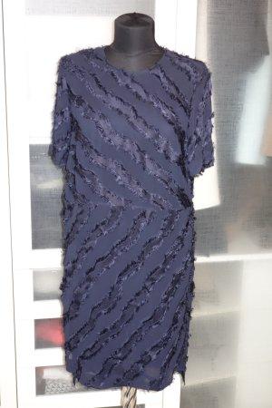 Org. LALA Berlin Kleid mit ausgefransten Details dunkelblau Gr.XS NEU+Etikett