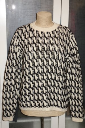 Org. LALA Berlin oversized Grobstrick-Pullover in schwarz/wollweiß Gr.S