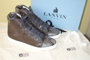Lanvin High Top Sneaker grey brown leather