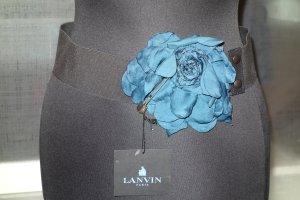 Org. LANVIN Stretchgürtel mit Stoffblume und Metallnadel mit Swarovskisteinen NEU+Etikett