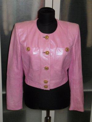 Org. LAUREL vintage Lederjacke in rosa Kastenform Gr.38