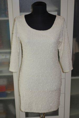 Org. LAUREL vintage Strickkleid in weiß mit Lurex Gr.38