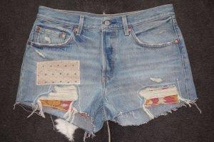 Org. LEVI'S Patchwork distressed denim Shorts 501 Gr.30