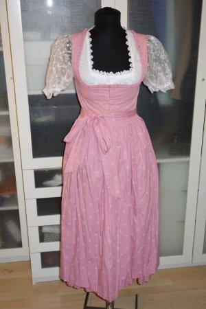Org. LODENFREY Dirndl in rosa mit Organza Bluse und Schürze Gr.36
