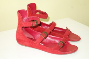 Manolo Blahnik Roman Sandals red suede