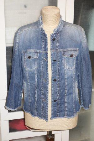 Org. MARC CAIN Jeans-Jacke ausgefranster Kragen wie neu Gr.40-44