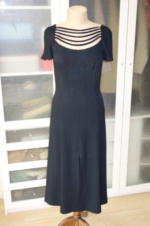 Org. MARC KEHNEN vintage Midi Kleid mit Schlitzen schwarz Gr.38