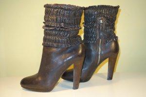 Org. MIU MIU Plateau Boots mit gecrashten Details Leder Gr.38,5