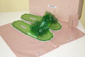 Miu Miu Claquette vert fluo cuir