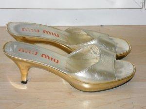 Org. MIU MIU Sandaletten gold Metallabsätze Gr.38