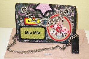 Org. MIU MIU Schulter-Umhängetasche mit Stickereien und Kettenriemen SS17 wie neu