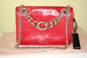 Miu Miu Crossbody bag red-silver-colored leather