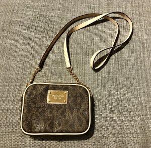 Org MK Michael Kors Crossbody Bag Jetset Travel Umhänge Tasche Gold braun beige