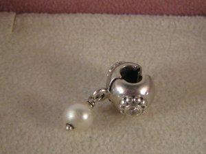 Org. Pandora Charm Silber Stopper mit Perle und Blume