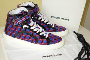 Org. PIERRE HARDY Hightop Sneaker mit multicolour Muster Samt NEU+Karton