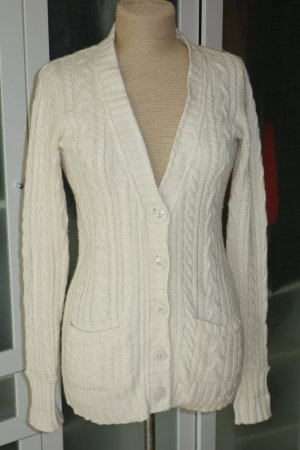 Org. POLO JEANS COMPANY Strick Cardigan mit Zopfmuster in creme Gr.L